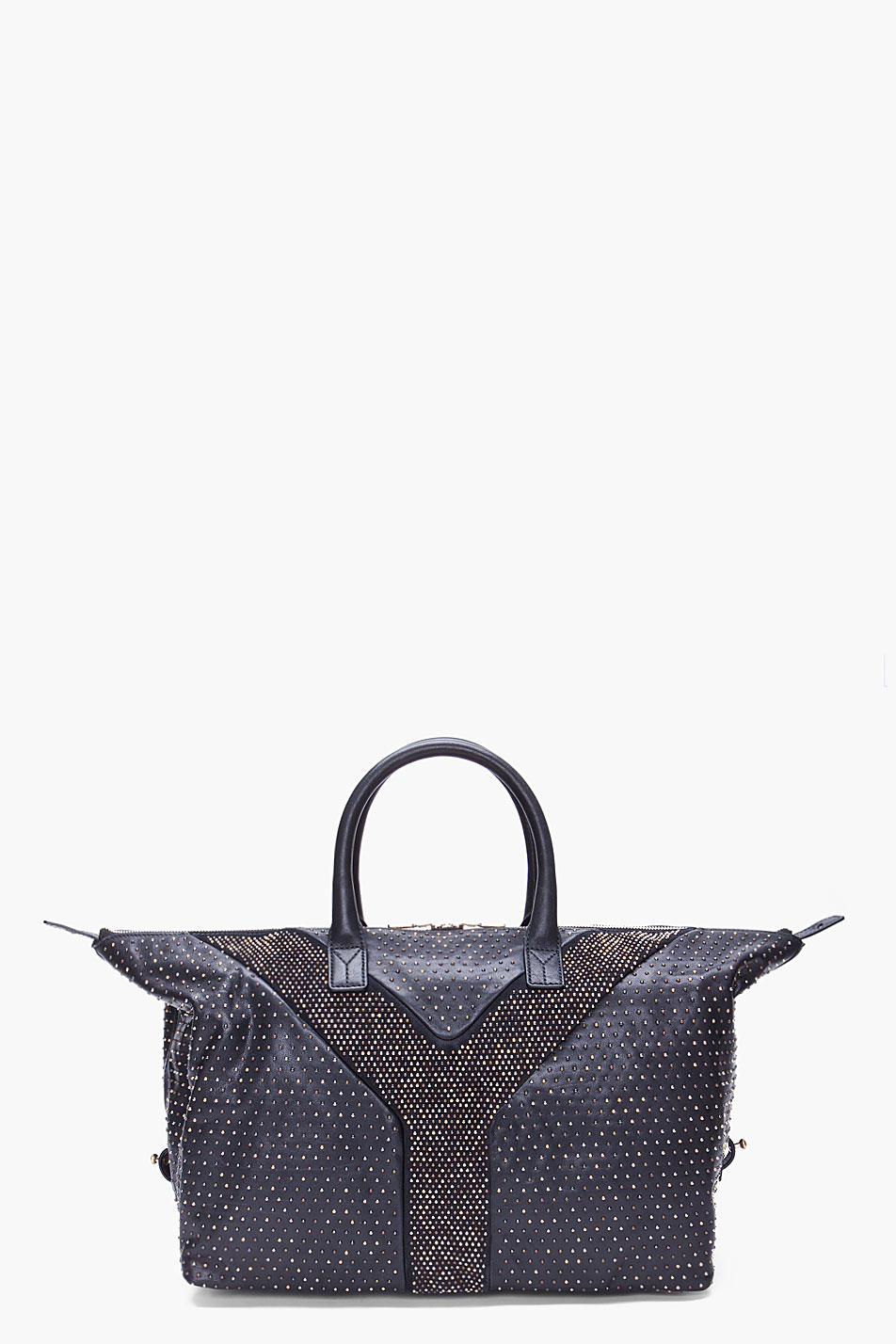 Saint laurent Studded Easy Rock Tote in Blue (black) | Lyst
