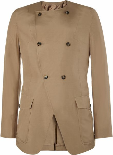 Saint Laurent Collarless Silk Blazer in Beige for Men - Lyst