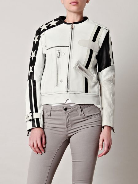 Acne Studios Stars Long Leather Jacket in White - Lyst