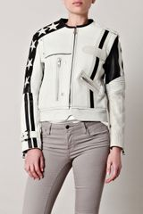 Acne Stars Long Leather Jacket in White - Lyst