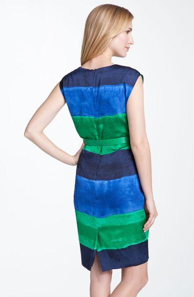 Ak Anne Klein Anne Klein Belted Bold Stripe Dress In Blue