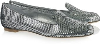 Alexander McQueen Sequined Leather Loafers - Lyst