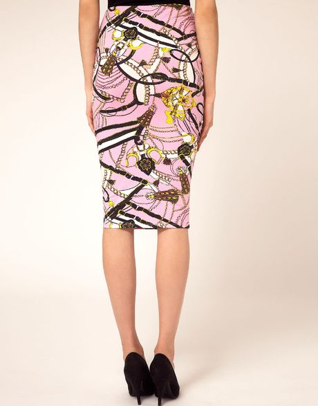 asos pencil skirt in pastel chain print in multicolor