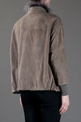 Brunello Cucinelli Ostrich Neck Jacket in Gray (khaki) - Lyst