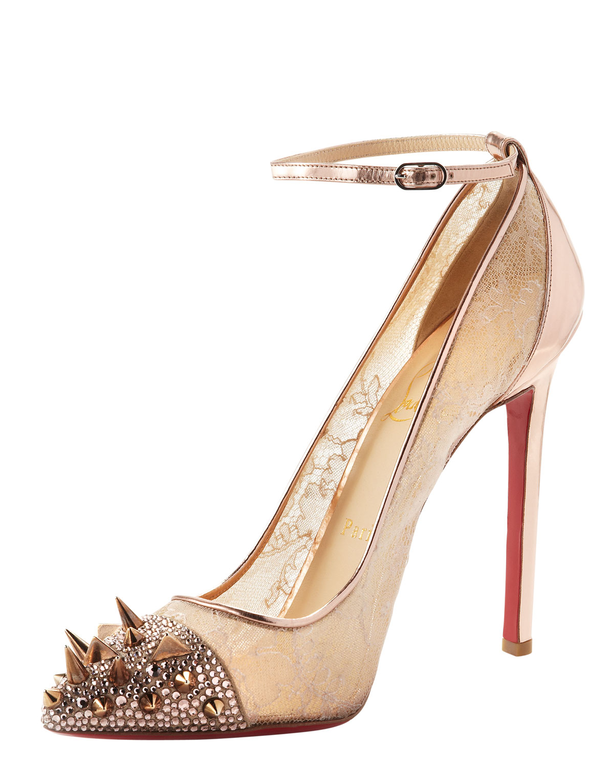 d8144a99c8f8 Christian Louboutin - Natural Picks Co Crystal Studembellished Lace and  Metallic Leather Pumps - Lyst