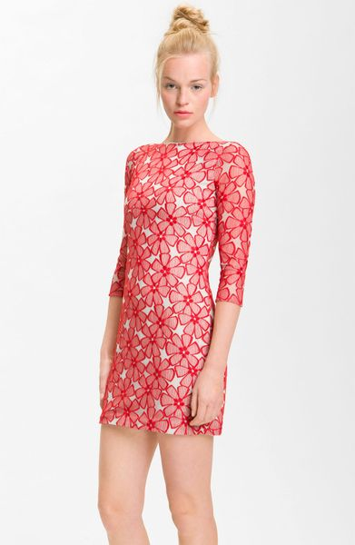 Dvf Red Lace Dress Sarita Lace Dress in Red