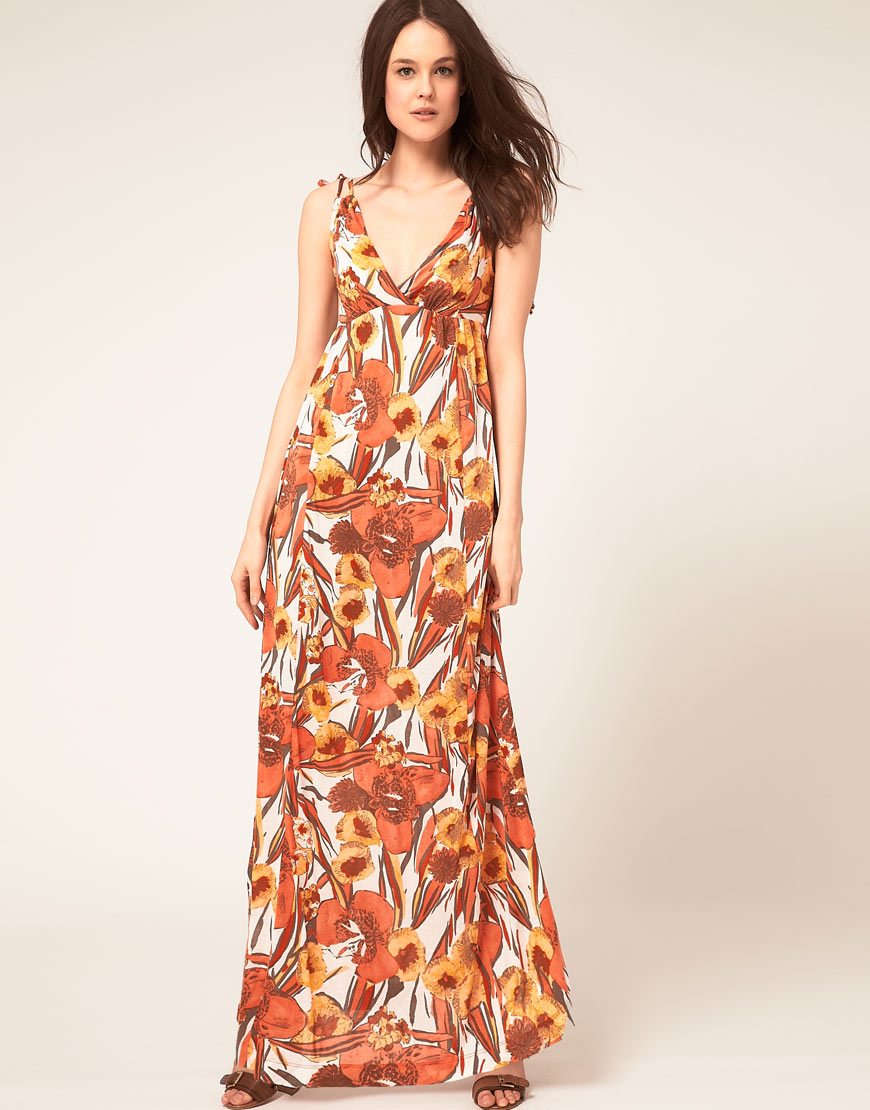 French connection Floral Print Maxi Dress in Orange | Lyst