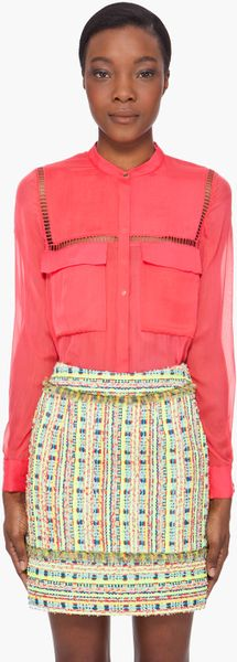 Matthew Williamson Neon Coral Silk Utility Blouse in Red (coral) - Lyst