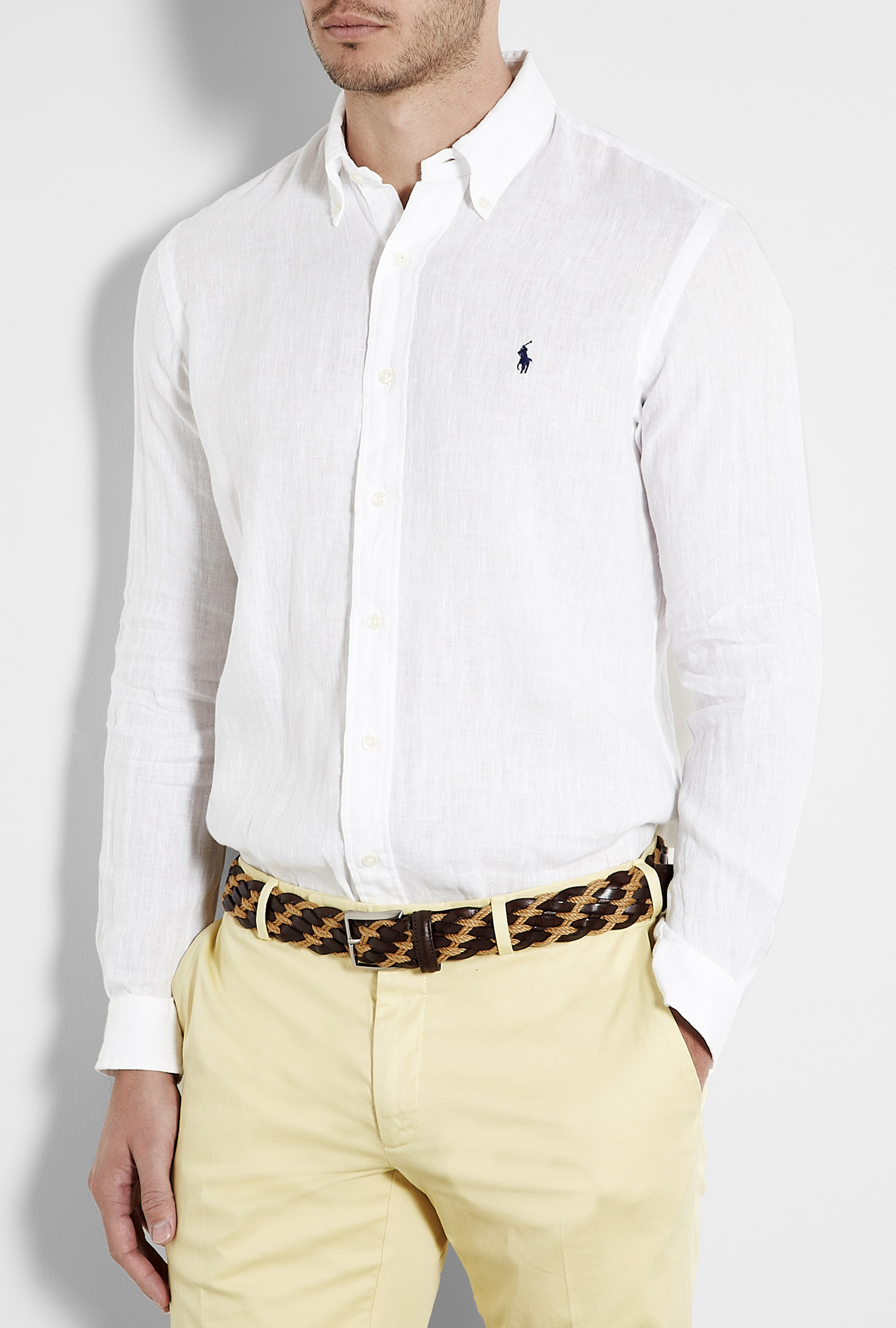 Polo ralph lauren white linen custom fit shirt in white for Custom suits and shirts