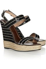 Valentino Sequined Espadrille Wedge Sandals - Lyst