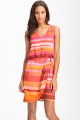 Vince Camuto Sleeveless Faux Wrap Dress - Lyst