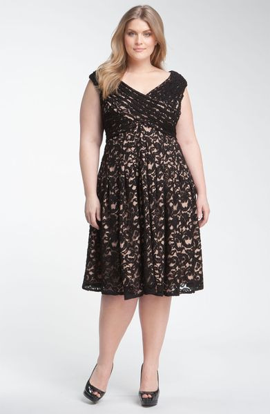 Adrianna Papell Surplice Lace Overlay Dress In Black Lyst