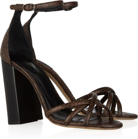 Chloé Stacked Heel Python Sandals in Brown - Lyst