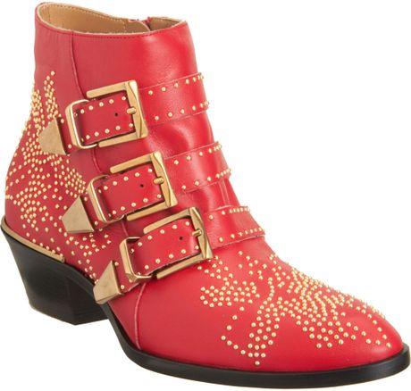 Chloé Studded Leather Buckle Ankle Boots in Red