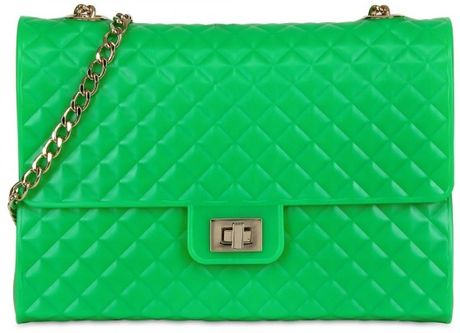 Designinverso Quilted Pvc Shoulder Bag in Green - Lyst