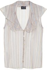 Giorgio Armani Striped Silkvoile Blouse in White - Lyst