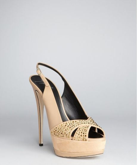 Giuseppe Zanotti  Leather Jake Slingback Peep Toe Pumps in Beige - Lyst