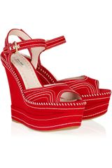 Miu Miu Canvas Platform Wedge Sandals - Lyst