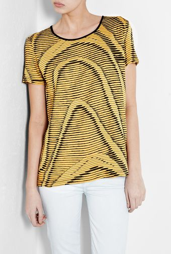 Mw Matthew Williamson Mustard Ladder Stitch Tshirt - Lyst