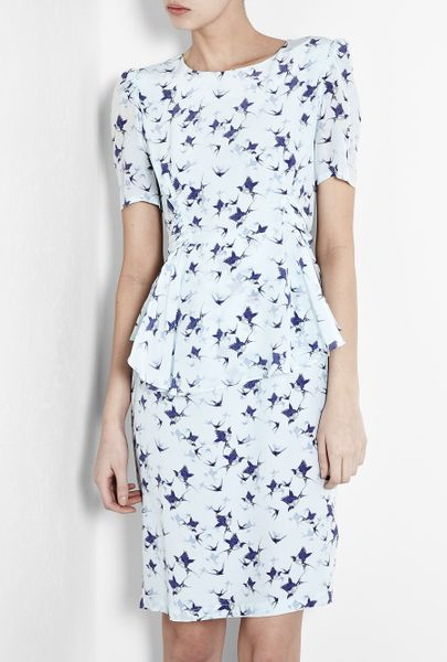 Project D By Dannii And Tabitha Phoebe Blue Bird Peplum Dress in Blue - Lyst