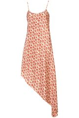 Topshop Red Leaf Print Asymmetric Dress in Red (off white) - Lyst