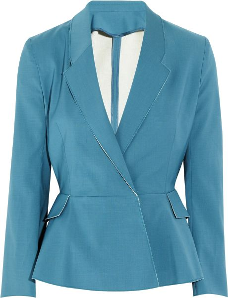 Acne Turner Raw Cottonblend Peplum Jacket in Blue - Lyst