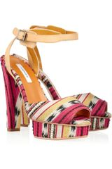 Carven Printed Jacquard Platform Sandals in Multicolor (multicolored) - Lyst
