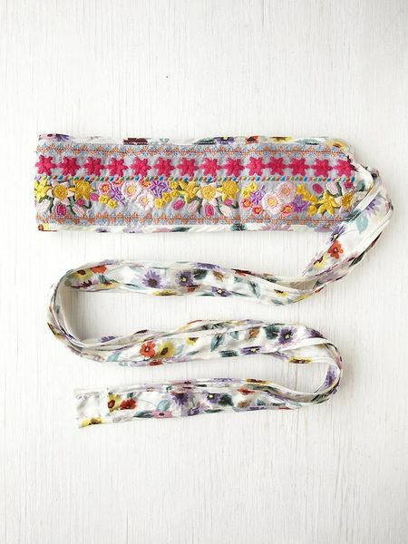 Free People Floral Galore Obi Belt in Multicolor (ivory)