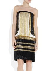 Gucci Chain Embellished Sequined Silk Dress in Black - Lyst
