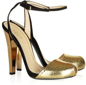 Gucci Crackedleather and Suede Sandals - Lyst