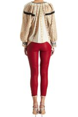Isabel Marant Sequin Sleeve Blouse in Beige - Lyst
