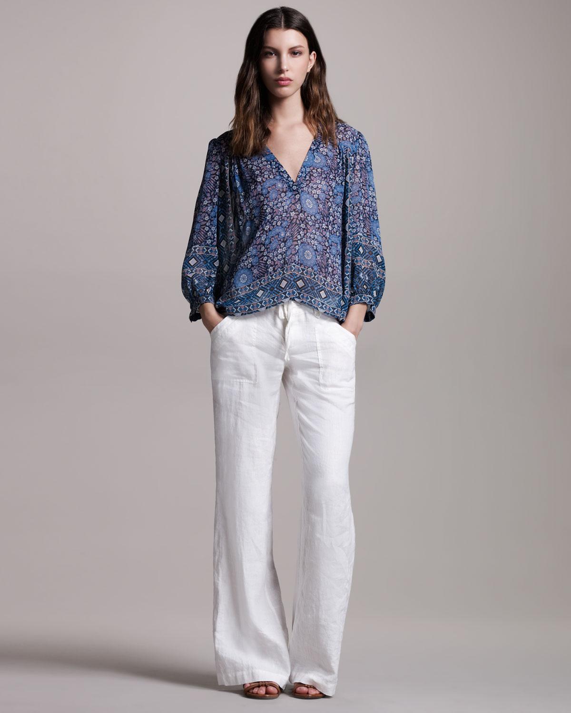 Joie Rome Wideleg Linen Pants in White | Lyst