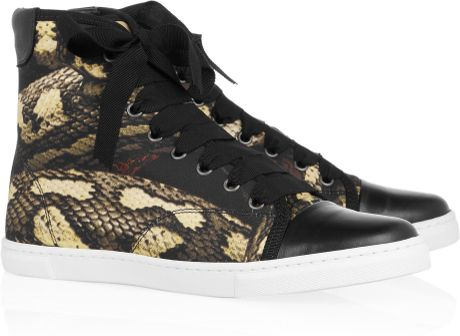 Lanvin Pythonprint Satin and Leather Sneakers in Animal (multicolored)