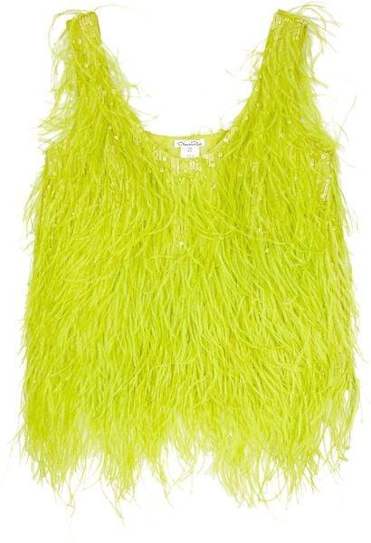 Oscar De La Renta Feathered Silk Top in Yellow (chartreuse)