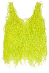 Oscar De La Renta Feathered Silk Top in Yellow (chartreuse) - Lyst