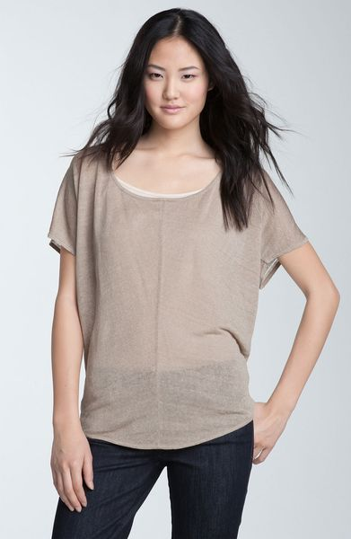 Trouvé Drop Stitch Back Sheer Top in Khaki (khaki canvas) - Lyst