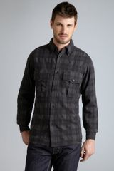 Y-3 Charcoal Plaid Wool Flannel Long Sleeve Button Down Shirt - Lyst