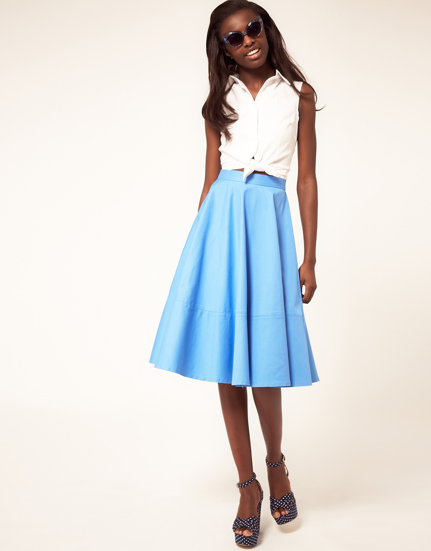 Asos collection Fit And Flare Midi Skirt in Blue | Lyst
