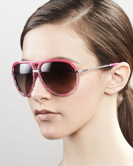 Dior Croisette Striped Aviator Sunglasses Fuchsia in Brown (fuchsia) - Lyst