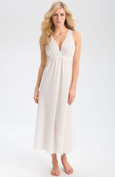Donna karan new york ruffled long nightgown in white lyst for Donna karen new york