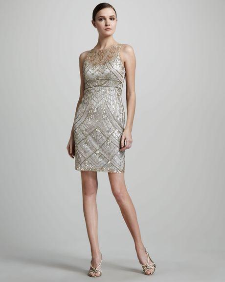 J Kara Beaded V Neck Cocktail Dress 88