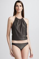 Michael Kors Metallic Necklace Tankini in Black - Lyst