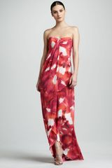 Nicole Miller Watercolorprint Georgette Gown - Lyst