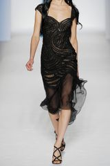 Alberta Ferretti Beaded Tulle and Crepe Midi Dress in Black - Lyst