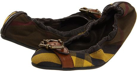 Burberry Check Elasticized Ballerinas in Brown (c) - Lyst