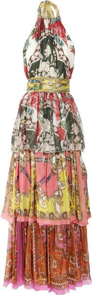 D&G Tiered Printed Silk Maxi Dress - Lyst