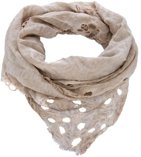 Faliero Sarti Embroidered Scarf in Beige - Lyst