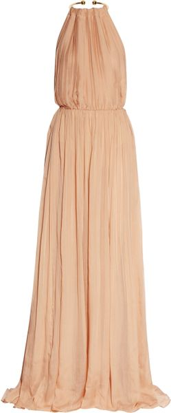 Just Cavalli Pleated Silkchiffon Gown in Pink (blush) - Lyst