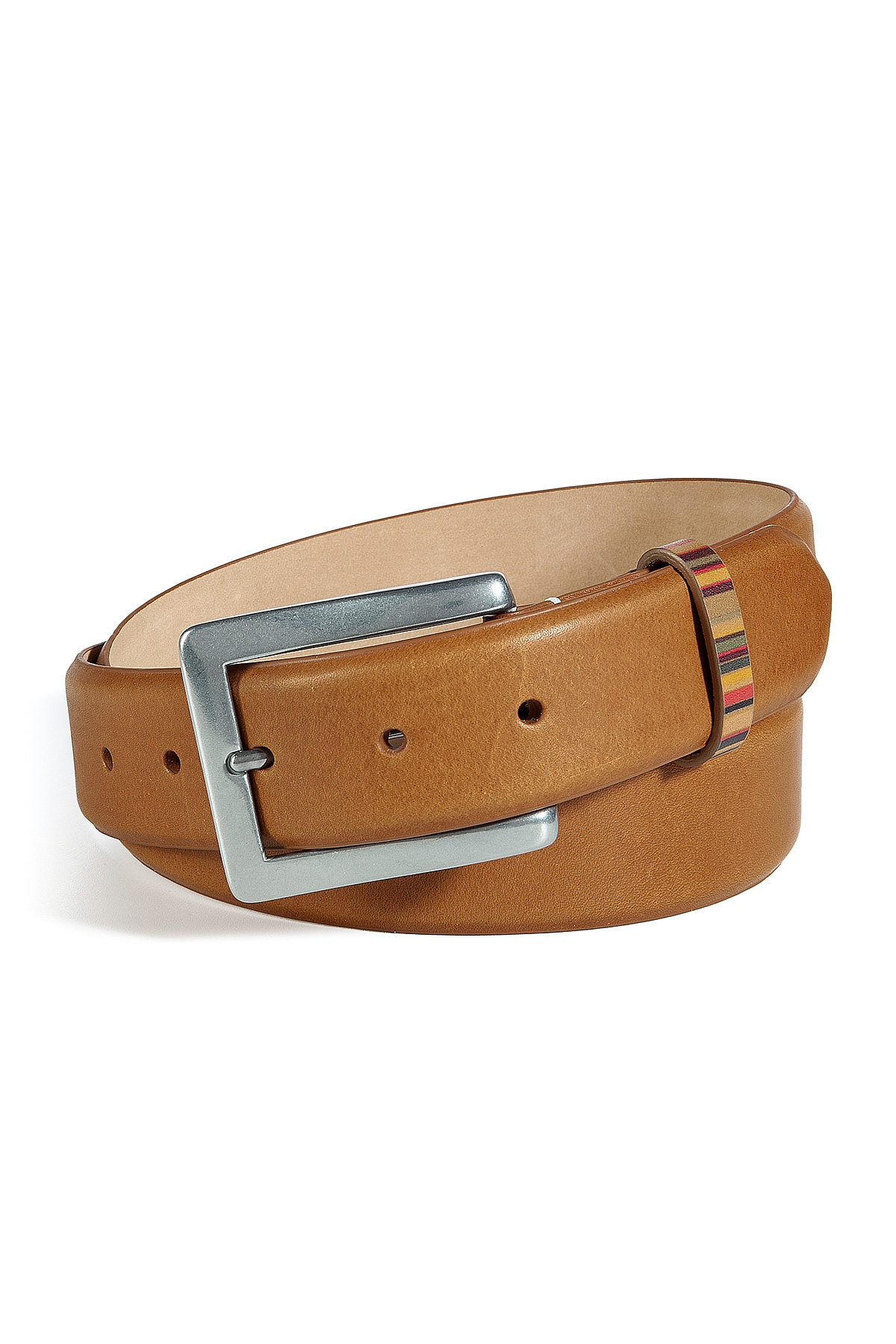 paul smith light brown leather belt in brown for lyst