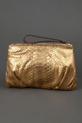 Zagliani Clutch Bag in Gold - Lyst